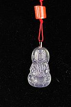 [CHINESE]A LATE 19TH CENTURY JADEITE PENDANT CARVED WITH FIGURE OF KWAN YIN L:1.75