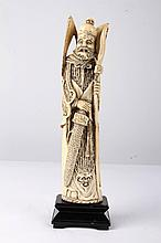 [CHINESE]A LATE 19TH CENTURY IVORY CARVING FIGURE (MEASURED WITH THE STAND )(560g)L:2.5