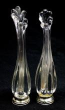 PAIR OF VASES FOR SMALL FLOWERS IN GLASS AND SILVER