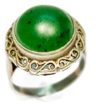 1920s OLD SCHOOL WEDDING BAND WITH CABOCHON CUT JADE