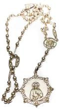 SILVER ROSARY WITH RELIGIOUS MEDALLION -  Early 20th CENTURY
