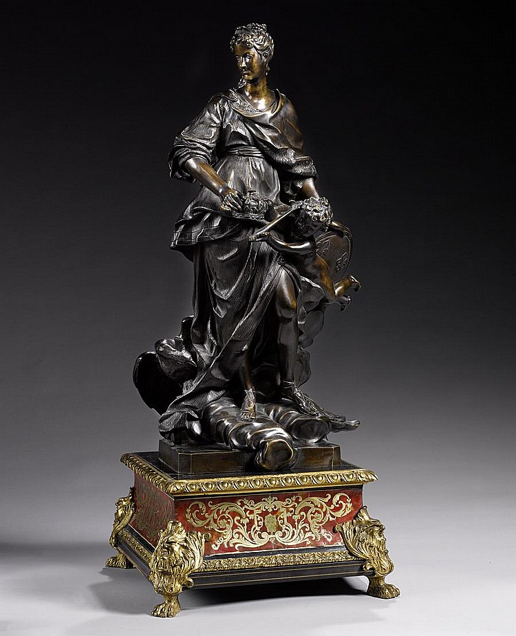 A French 18th century patinated bronze figure of Marie Leczinska as Juno after Guillaume Coustou (1677-1746)