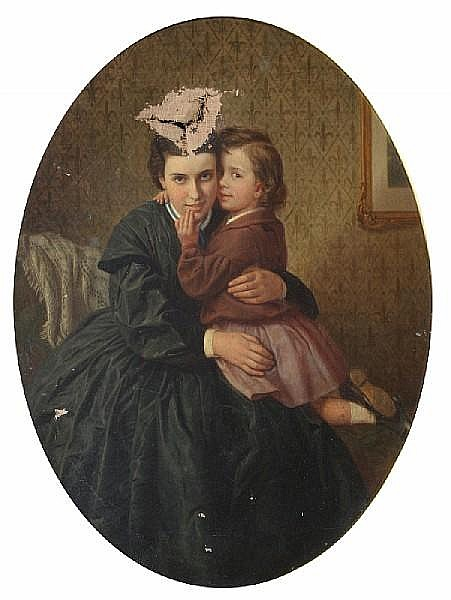 James Collinson (British, 1825-1881) 'Private and Confidential' 44 x 35.5cm. (in an oval mount)