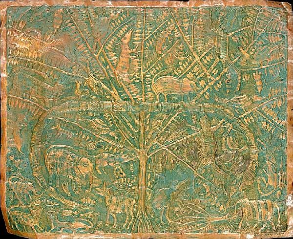 Asiru Olatunde (Nigerian, 1918-1993) Animal Tree unframed