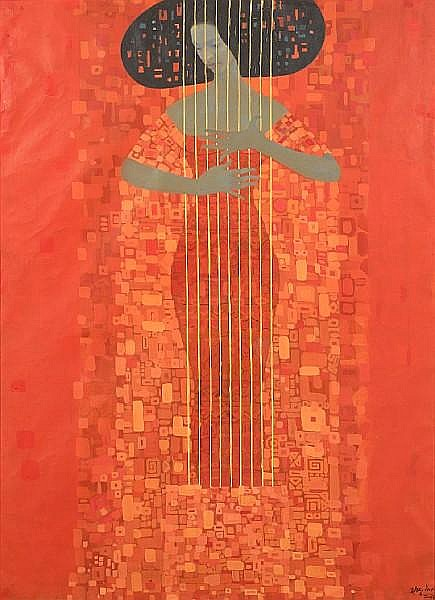 Getahun Assefa (Ethiopian, born 1967) Woman making music, 2000 unframed