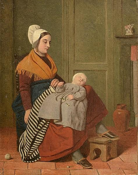 James Collinson (British, 1825-1881) Mother and child