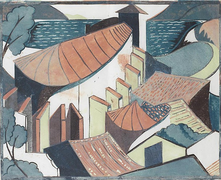 Ursula Fookes (British, 1906-1991) The Village Linocut printed in colours with hand colouring in watercolour, c.1930, on tissue thin Japan, a rare unsigned trial proof, 276 x 345mm (11 x 13 1/2in)(B); together with the original pencil drawing,