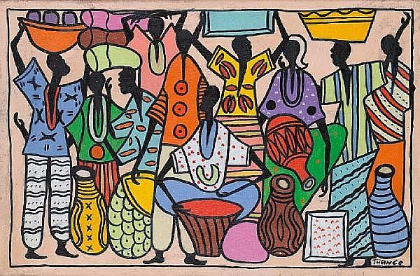 Francois Thango (Congolese, 1936-1981) Market scene