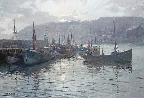 William Eric Thorp (British, 1901-1993) Brixham Harbour, early morning