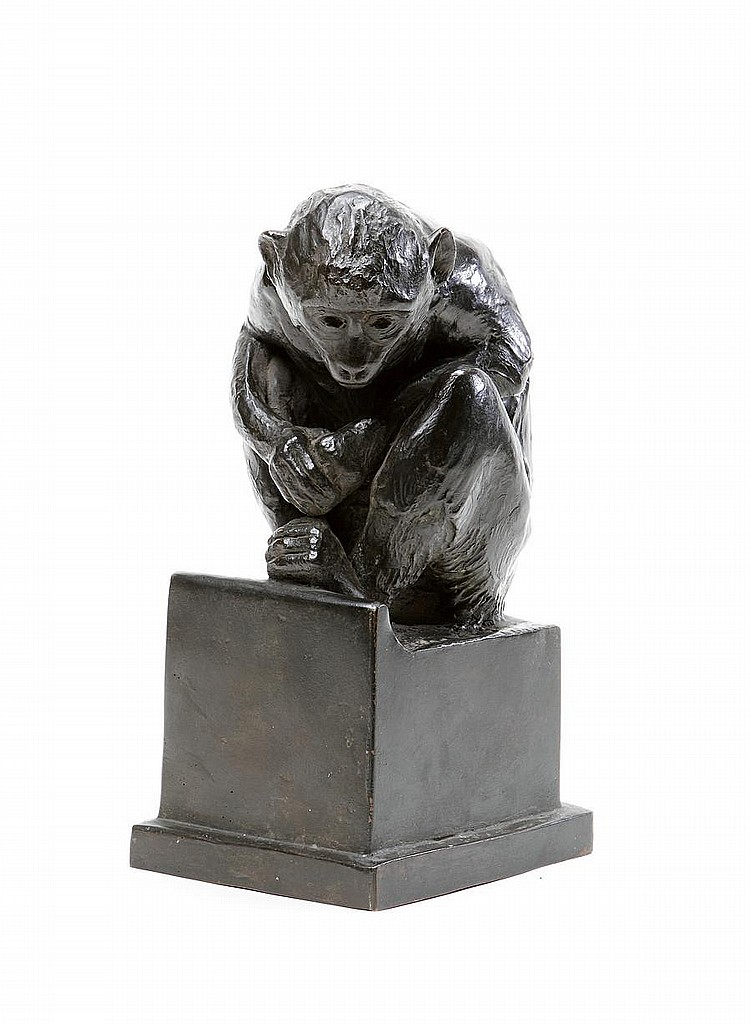 Donald Gilbert, British (1900-1961) A bronze figure of a crouching monkey