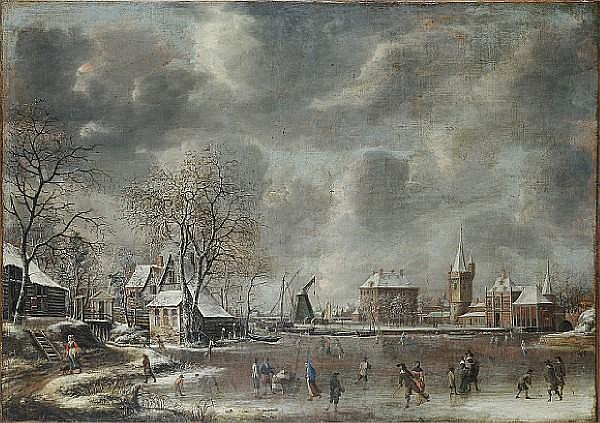 Jan Abrahamsz. Beerstraten (Amsterdam 1622-1666) A winter landscape with figures skating and playing kolf on a frozen river at the edge of a town