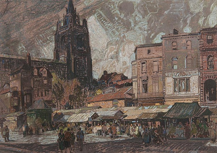 Leonard Russell Squirrell, R.W.S., R.I., R.E. (British, 1893-1979) 'Sun and storm, Norwich Market Place'