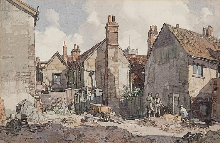 Leonard Russell Squirrell, R.W.S., R.I., R.E. (British, 1893-1979) 'Backs near Lord's Yard, Fore Street, Ipswich'