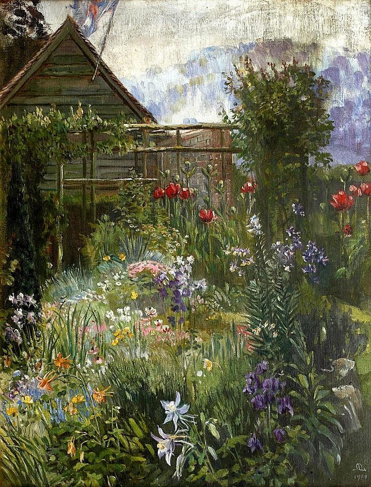 Anna Lea Merritt (American, 1844-1930) A garden in Spring