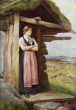 Axel Ender-(Norwegian, 1853-1920)-At the cottage door