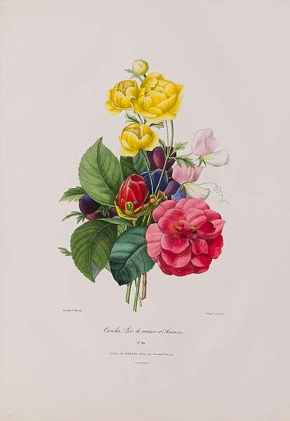 Redouté (Pierre-Joseph) [Douze Bouquets Dessinés et composés par P.J. Redouté lithographiés par A. Prevost et Pointel du Portail], 5 original parts
