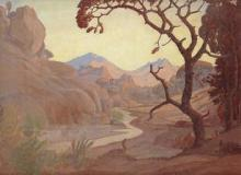 Jacob Hendrik Pierneef-(South African, 1886-1957)-Landscape with river