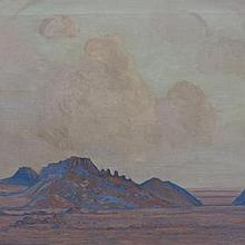 Jacob Hendrik Pierneef-(South African, 1886-1957)-Karoo landscape