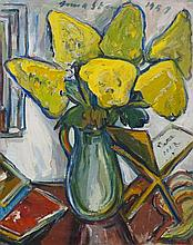 Irma Stern-(South African, 1894-1966)-Still life with golden-rod flowers