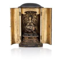 A gilt and black lacquer portable shrine, zushi - 19th century