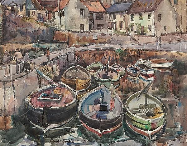 Robert Hardie Condie (British, 1898-1981) Lobster Boats Crail