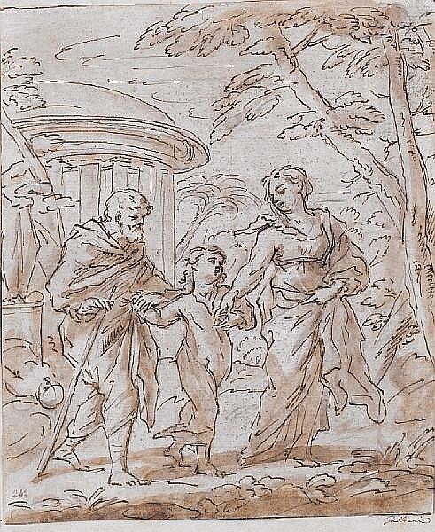 Attributed to Anton Domenico Gabbiani (Florence 1652-1726) The Flight into Egypt 213 x 180 mm unframed
