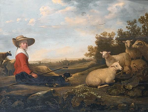 Jacob Gerritsz. Cuyp (Dordrecht 1594-circa 1651) A shepherdess with her sheep in an extensive landscape,