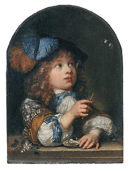 Caspar Netscher (Heidelberg 1639-1684 The Hague) A young boy making bubbles