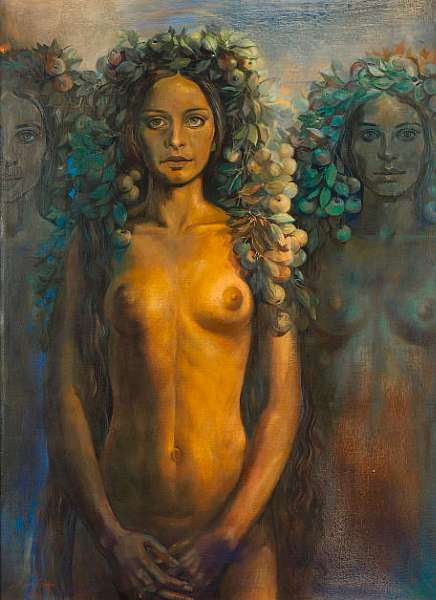 Nazir Nabaa (Syria, b.1938) Nude with Fruit Head-dress