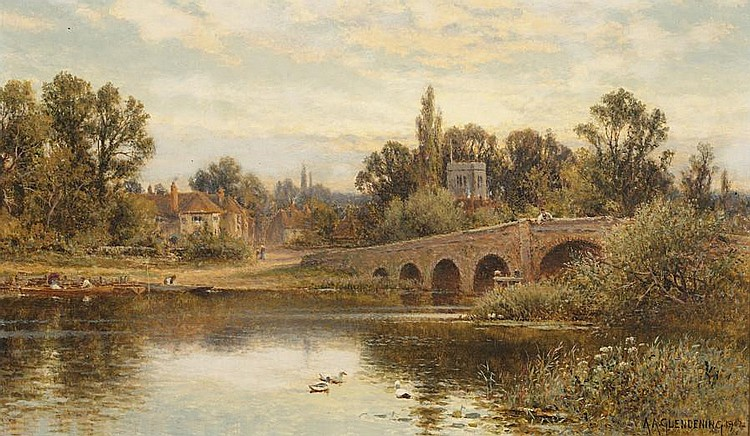 Alfred Augustus Glendening (British, 1840-1921) 'The Thames at Sonning', and a companion of the 'Thames at Windsor',