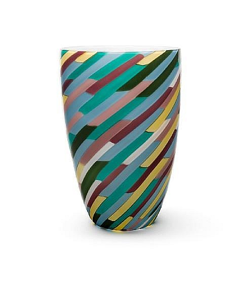 Laura Diaz de Santillana for Venini, a 'Klee' vase, designed 1978, this example dated 1982