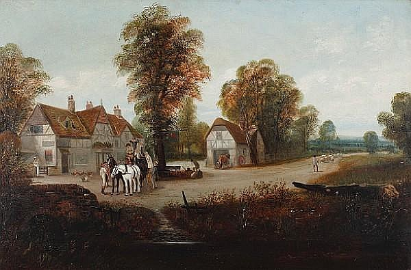 Edward Priestley (British, 19th Century) Coach outside a country pub, Farnham