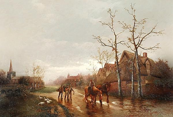 James Walter Gozzard (British, 1888-1950) Farmers and horses on a country track,