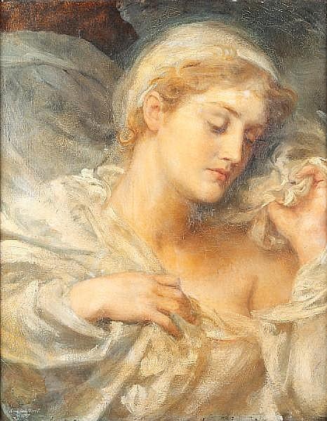 Anna Lea Merritt (American, 1844-1930) Portrait of a young lady