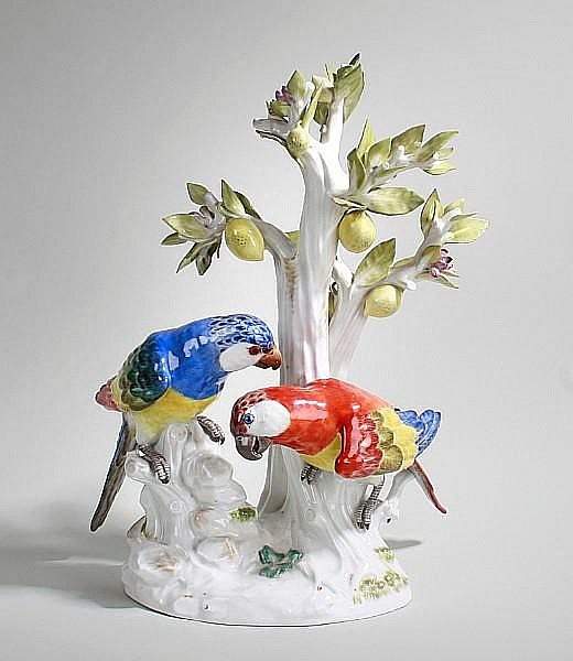 A large Meissen model of two parrots on a lemon tree 20th Century