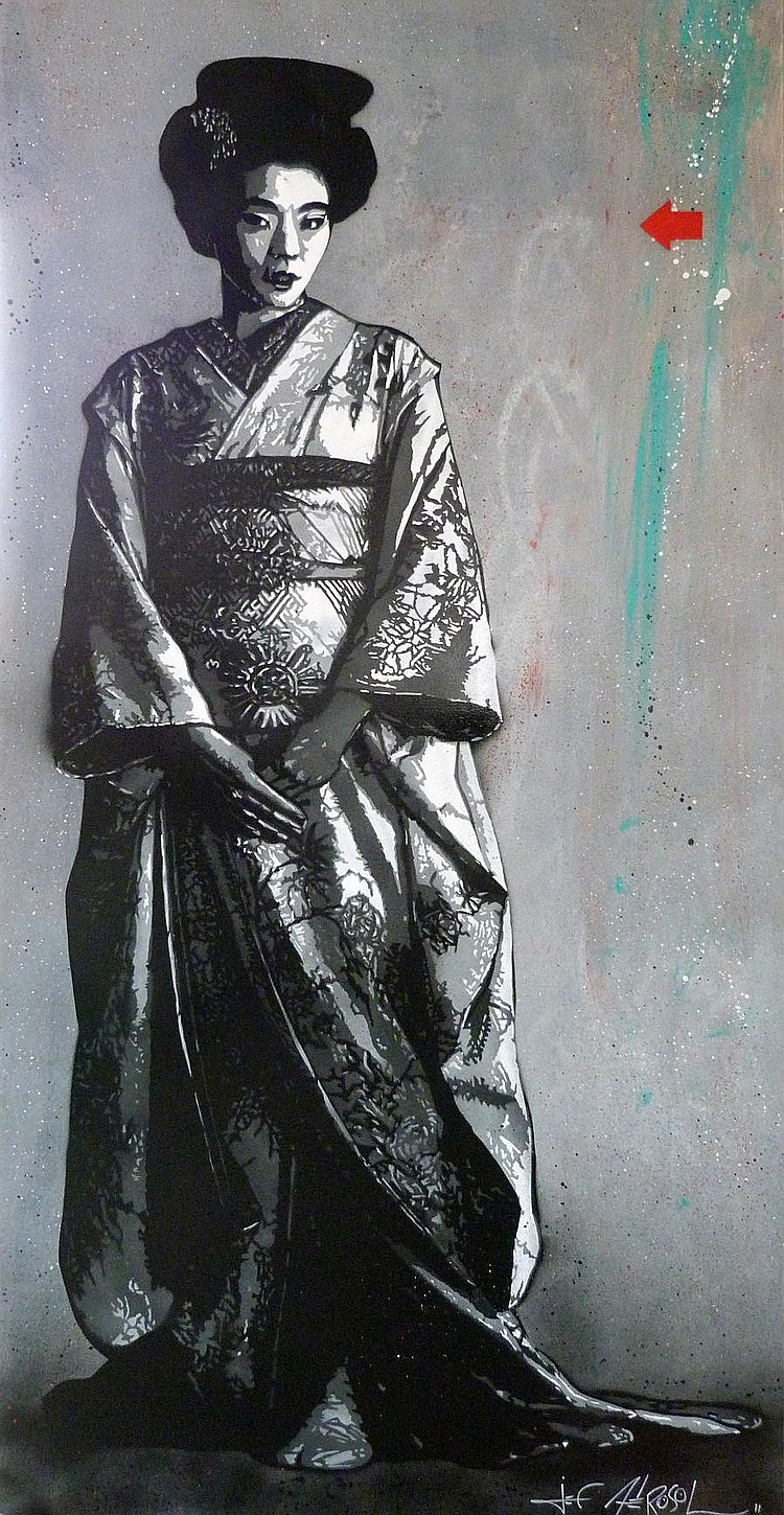 Jef Aerosol (b.1957) Geisha signed and dated 11; signed and dated 11 on the reverse spray paint and mixed media on canvas 195 by 97 cm.