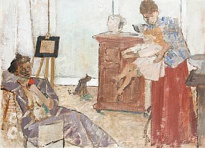 Geoffrey Tibble (British, 1909-1952) Interior scene with mother and child