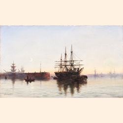 Robert Jobling (British, 1841-1923) Shipping off a jetty at dusk
