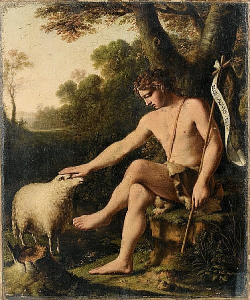 Circle of Baptiste Gagnereaux (Dijon 1765-1846 Florence) Saint John the Baptist before an open landscape unframed