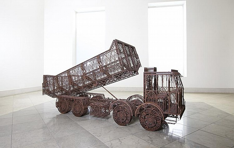 Wim Delvoye (born 1965) Dump Truck 2004 laser-cut corten steel 123 by 77 by 245 cm. 48 7/16 by 30 5/16 by 96 7/16 in. This work was executed in 2004 and is unique.
