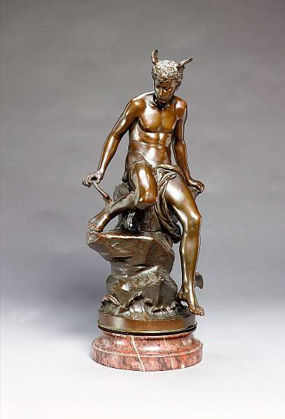 Eutrope Bouret (French, 1833-1906): A bronze figure of the young Mercury