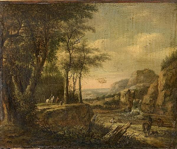 Attributed to Pieter Jansz. van Asch (Delft 1603-1678) A river landscape