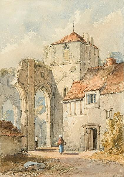 George Earp (British) Figures before a ruined French monastry