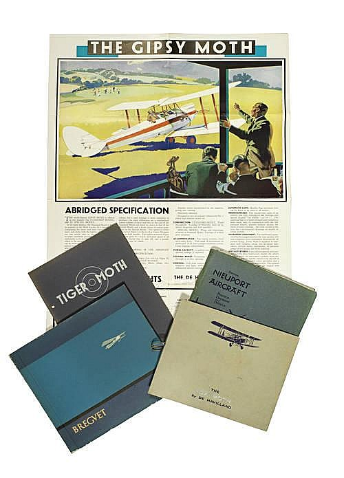 Five aircraft sales catalogues and other Aviation publications,