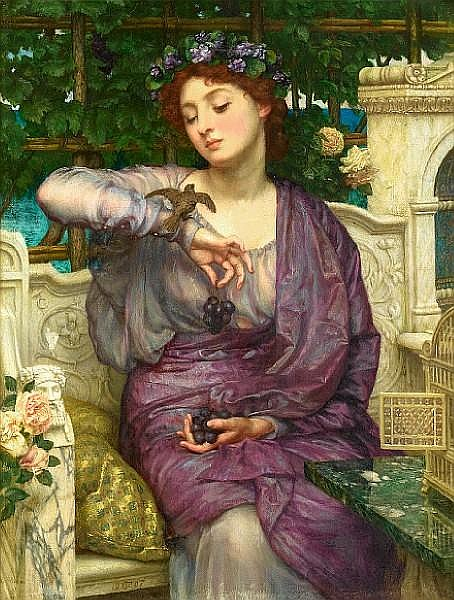 Sir Edward John Poynter, PRA RWS (1836-1919) Lesbia and her Sparrow