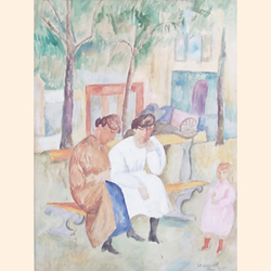 Nina Hamnett (British, 1890-1956), The Conversation, watercolour, signed, dated and inscribed, 'Paris 1921', 32 x 23.5 cm