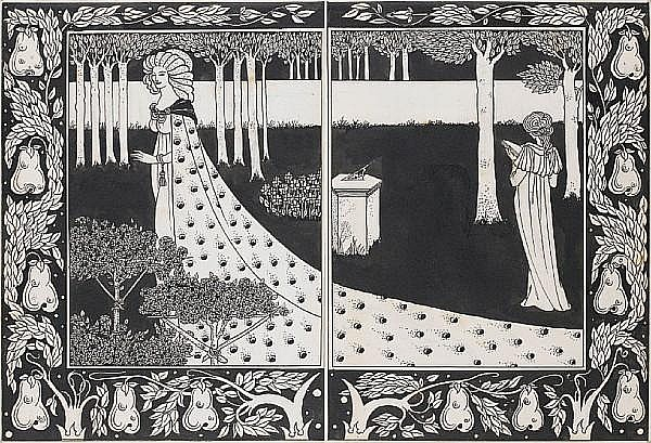 Aubrey Vincent Beardsley (British, 1872-1898) La Beale Isould at Joyous Gard 26cm x 19cm. (10 1/4 x 7 1/2 in.), the other 26cm x 19cm. (10 1/4 x 7 1/2 in.) unframed