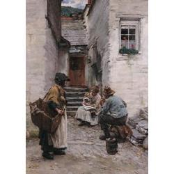 Walter Langley, RI, RBA, RWA, (British, 1852-1922) Figures in a Cornish fishing town 30 x 22 in (76 x 56 cm)