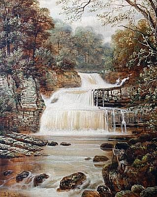 Edward Priestley (British, 19th Century) Waterfall