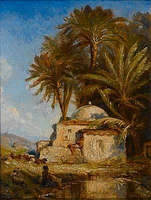 Prosper Georges Antoine Marilhat (French, 1811-1847) Tomb of a sheik